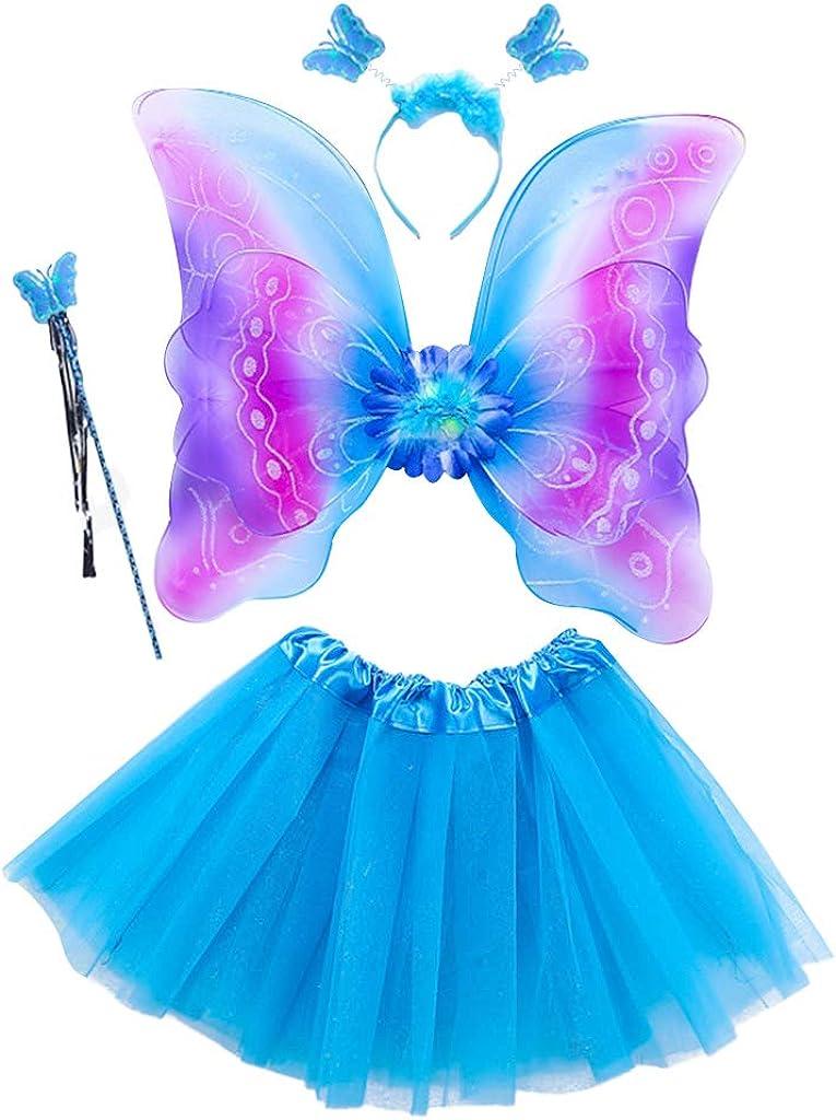 Juego de 4 piezas de disfraz de hada para niñas, con alas de arcoíris de tres capas, tutú, vestido mágico y diadema para princesa, cosplay 3-8T
