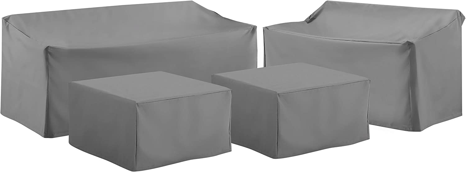 Crosley Furniture MO75012-GY Heavy-Gauge Reinforced Vinyl 4-Piece Furniture Cover Set (Loveseat, Sofa, 2 Square Table/Ottoman), Gray