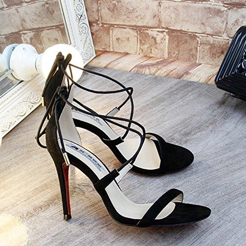 Xing Lin Sandalias De Mujer Verano De Satín Rojo Zapatos De Tacón Fino Rocío Correa Con Cross-Toe Sandals De Discoteca, Con Los Singles Femeninos Zapatos Black Satin 9 cm