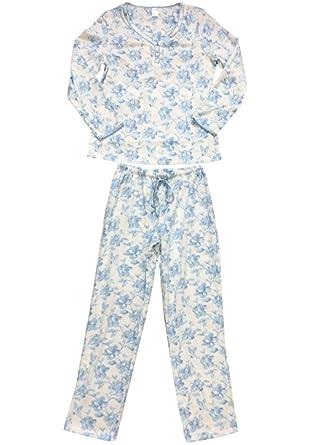 fd6dd598d Womens White   Blue Floral Flower Fleece Pajamas Fuzzy 3 4 Button ...
