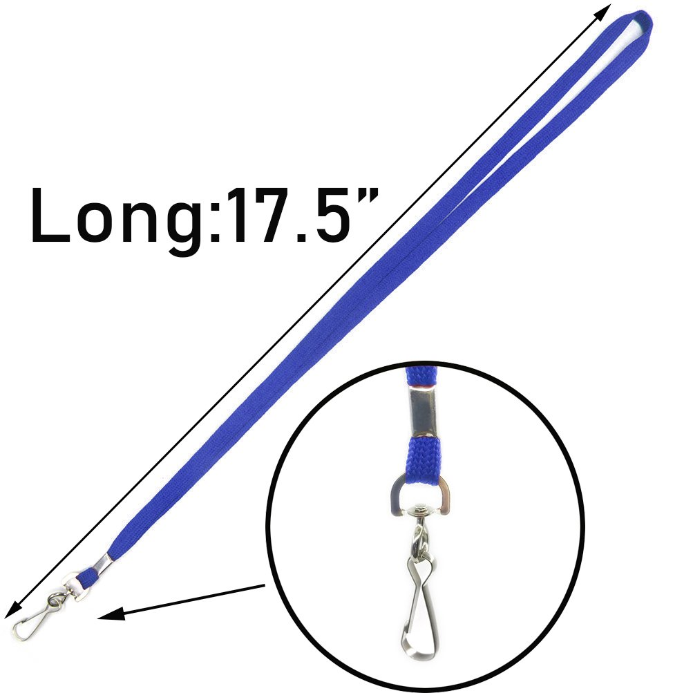 Lanyard aus Baumwolle mit Clip 50 St/ück 50 blau Ausweis-Badge-Clip Lanyards f/ür Schl/üsselketten 81,2 cm flacher Lanyard mit Drehhaken