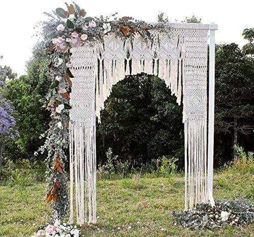 Nueva macramé de macramé de telón de fondo para decoración de la pared estilo Boho Chic bohemio You boda ceremonia 72 W x 84