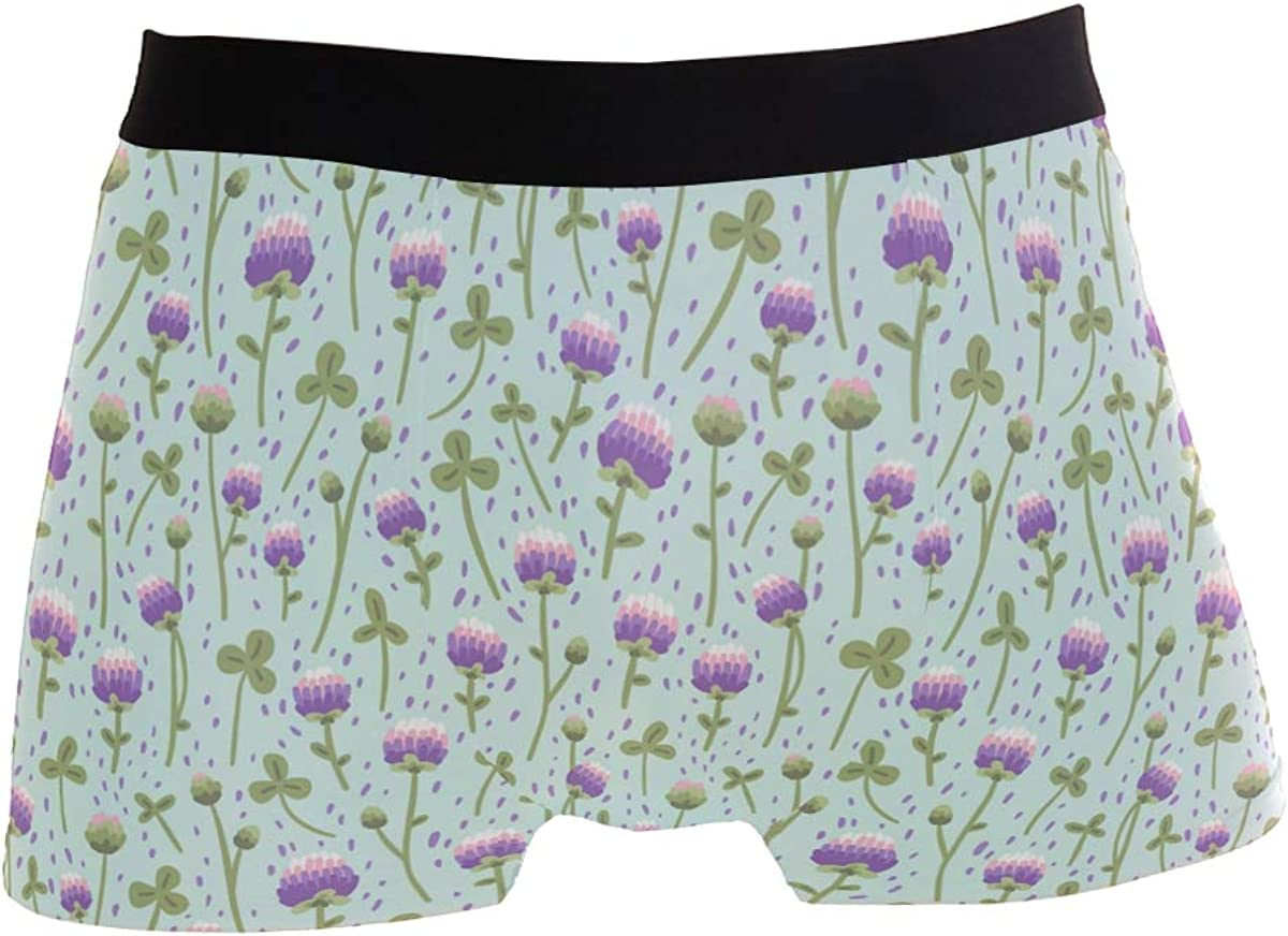Mens Soft Breathable Pink Clover Leaf St Patricks Day Underwear Boxer Briefs