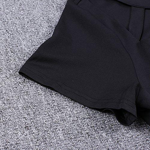 LALAGEN Women Plus Size Short Sleeve Flare Peplum Blouse Top Black XXL