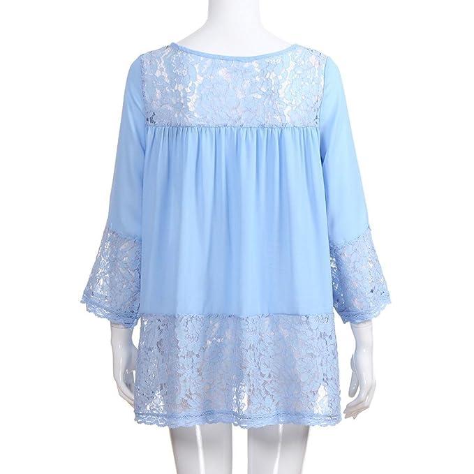 Tops Flojos de Tres Cuartos para Mujer Camisetas con Cuello en V Tops Blusa de Encaje ❤ Manadlian: Amazon.es: Ropa y accesorios