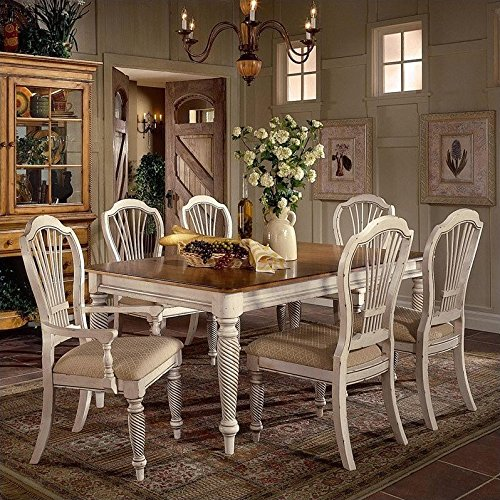 Wilshire Antique Pine Finish (Hillsdale Wilshire 7 Piece Rectangular Dining Table Set in White)