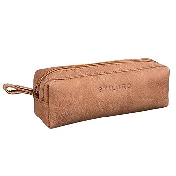 c0696610ff STILORD 'Linus' Trousse en Cuir Plumier Vintage Pochette pour Crayons Étui  Stylos Porte-