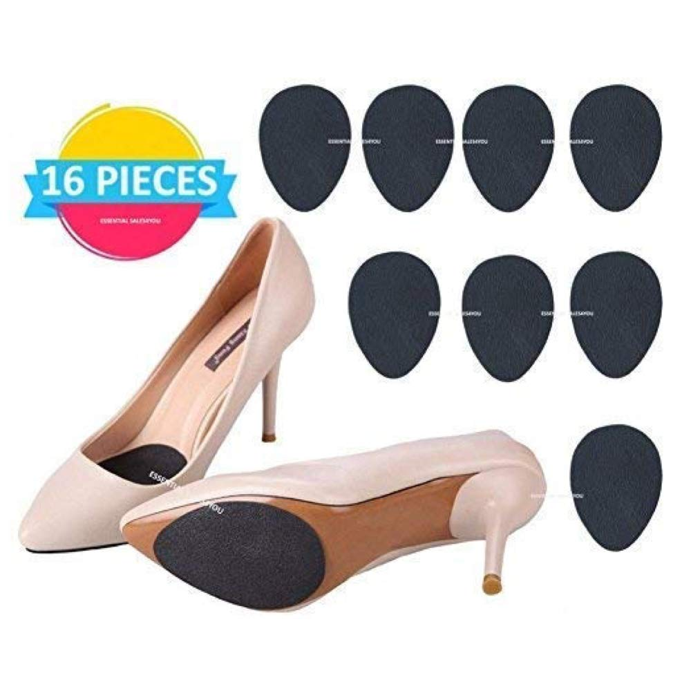 (16 pcs) Anti Slip Non-Skid Shoe Pads Stick on Bottom Shoes Grip Rubber Adhesive Sole Protector Grips Nonslip Cushion Heel Replacement Pad Prevention Non No Skid