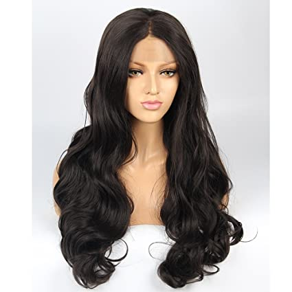 vvBing Half Hand Tied Synthetic Lace Front Wigs Body Wave Long Hair Heat Resistant Fibers Glueless