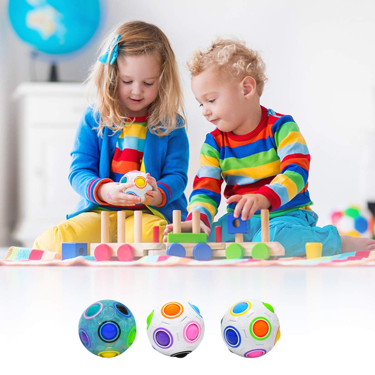 lunaoo Boule Magique Puzzle Ensemble de 4 Balle Arc en Ciel Enfant Jouet Cadeau