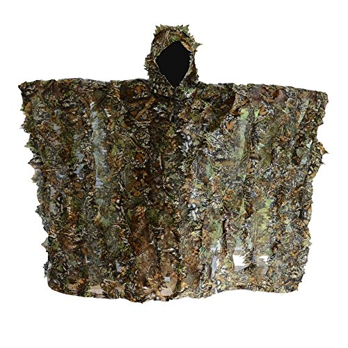 Hunting Blind, LOOGU Woodland Camouflage Ghillie Poncho Camo Suit Military Leaf Hunting and Shooting Accessories Tactical Outdoor Clothing for Airsoft, Wildlife Photography Halloween or Party