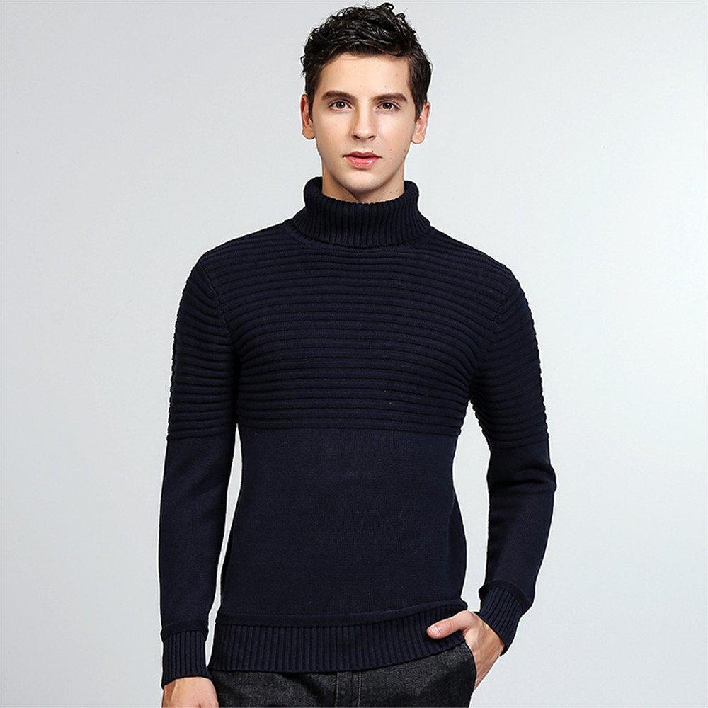 Jdfosvm männer - Pullover für männer Mode Jungen englischen Polo Hals Pullover Pullover,Navy Blau,XXL