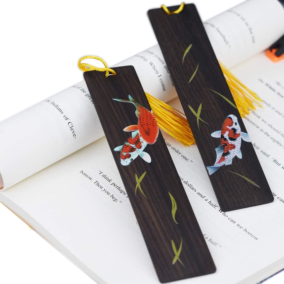 Handgemachte h/ölzerne Lesezeichen setzen Farbmalerei Seitenmarkierung f/ür Buchliebhaber Sammlung-Chinesisches Blumenschwarzes