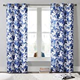 Brilliant Blue & White Floral Printed Grommet Top Window Curtain Pair Panel Insulated Drapes For Bedroom, Livingroom, Kid, Children, Nursery - Assorted Color - 38 by 84 Inch, Set of 2 Panels