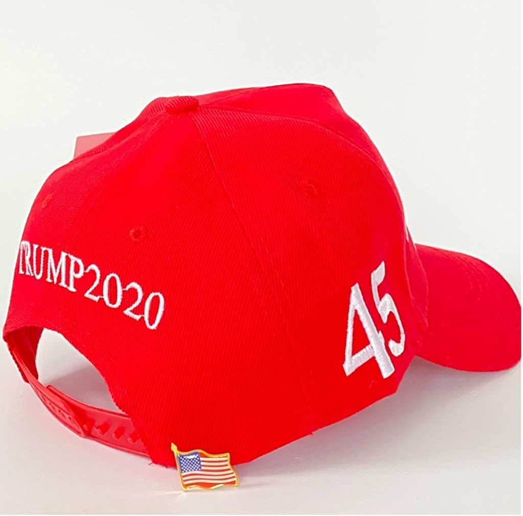 Hyrevue High End Retail Official Donald Trump Hat Keep America Great MAGA Cap 2020 American Flag Pin USA Red, Unisex at  Men's Clothing store