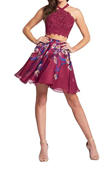 WDH Dress Print Halter Burgundy Homecoming Dress Lace Short Two Pieces Prom Dress: Amazon.co.uk: Clothing