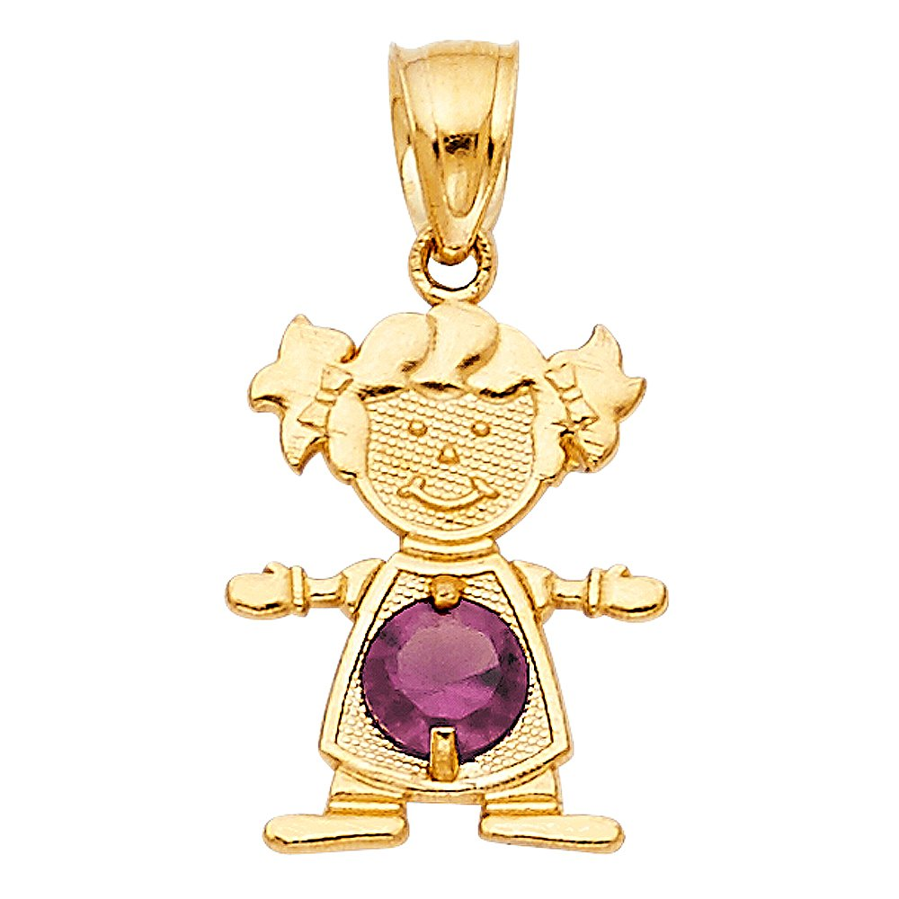 TagaDavao Collection 14K Yellow Gold Baby Girl Birthstone Pendant Charm All Months