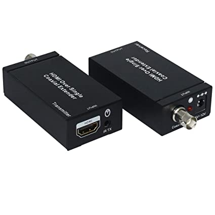 HDMI Cables NK-C100IR 1080P HDMI Sobre un Solo Extensor Coaxial (transmisor + Receptor) con Cable Coaxial IR, Alcance de Señal de hasta 100 m: Amazon.es: ...