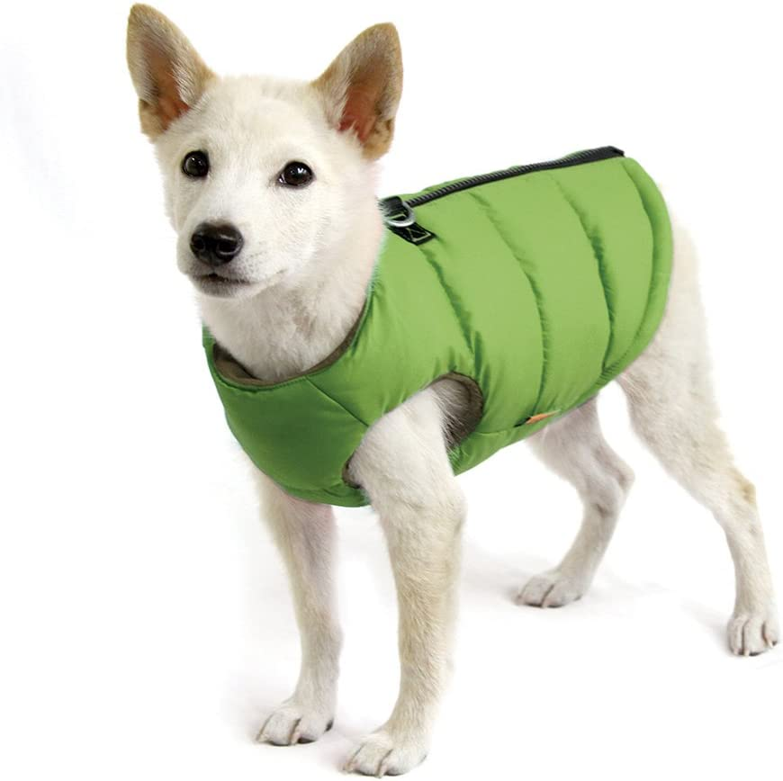 Gooby - Padded Vest, Dog Jacket Coat Sweater with Zipper Closure and Leash Ring