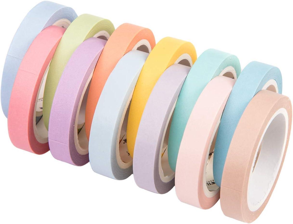 Washi Cinta,Washi Tape 12 Rolls Cintas Decorativas de Scrapbook Rainbow Adhesiva Cinta de Enmascarar para Scrapbooking DIY Manualidades 8mm: Amazon.es: Hogar