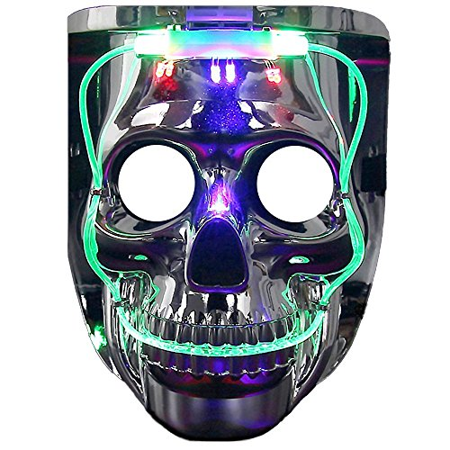 Light up Mask, DAXIN DX LED Halloween Scary Mask Purge Anonymous Mask Cool Christmas Mask Skeleton Costume for Men Women Kids, 6 Modes, 2 in 1
