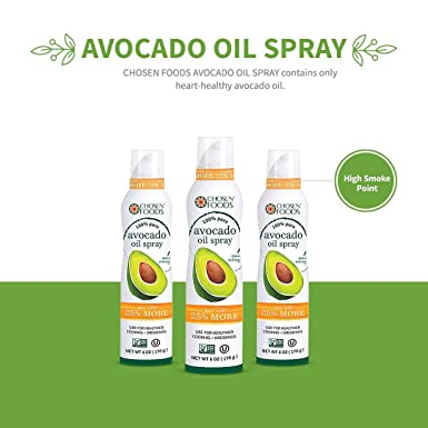 Chosen Foods 100% Pure Avocado Oil Spray 6 oz., Non-GMO, 500° F Smoke Point, Propellant-Free, Air Pressure Only for High-Heat Cooking, Baking and ...