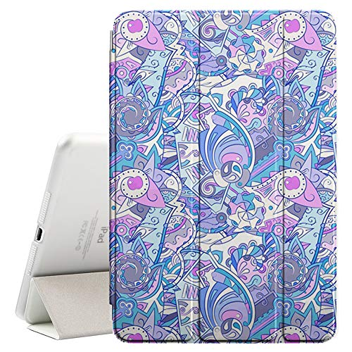 (Compatible with Apple iPad Mini 4 - Leather Smart Cover + Hard Back Case with Sleep/Wake Function (Tracery Mehndi Design))