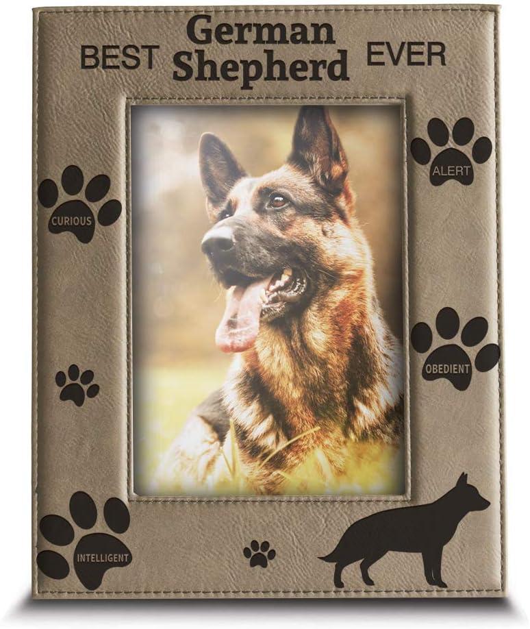 BELLA BUSTA - Best German Shepherd Ever-Dog Photo Frame-Dog Lover Gift-Engraved Leather Picture Frame (5 x 7 Vertical)