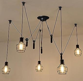 American Retro Hierro jaula elevación Polea LED lámpara de techo ...