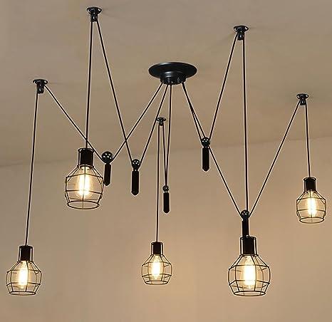 American Retro Hierro jaula elevación Polea LED lámpara de ...