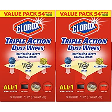 Clorox Triple Action Dust Wipes, 54 Count Box (Pack of 2)