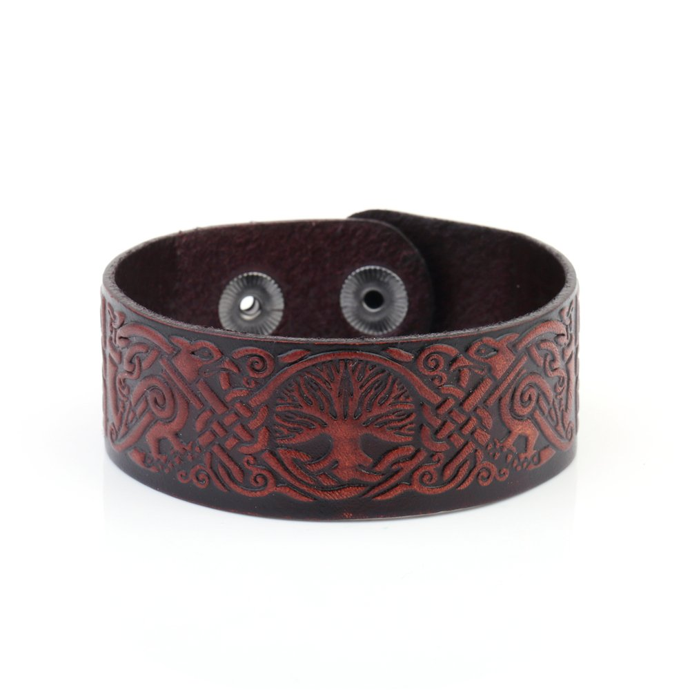 Vintage Punk Tree of Life Celtic Knot Symbol Double-Clasp Bangle Leather Bracelet GeXiang