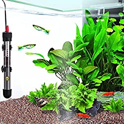 Fully submersible Water Heater for Aquariums by SunGrow: Explosion-proof Heating rod: Adjustable temperature gauge for tropical fish: Easily attach to fish tank: Clear temperature display