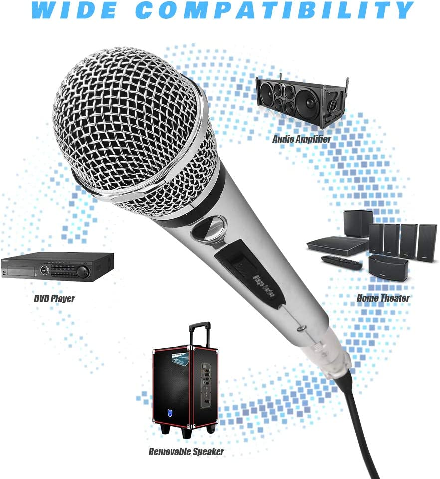 Wedding Professional Handheld Vocal Mic with 13ft 6.35mm XLR Audio Cable Compatible with Karaoke Machine//Speaker//Amp//Mixer for Singing Ankuka Wired Dynamic Karaoke Microphones Speech Stage