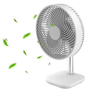Kabellos Leiser Betrieb 90/° vertikale Neigung geeignet f/ür Schlafzimmer Ventilator Luftk/ühler 4 Stufen Wohnzimmer Tischventilator 4000 mAh Akku B/üro Windmaschine
