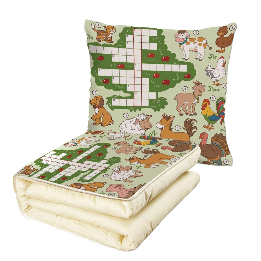 iPrint Quilt Dual-Use Pillow Word Search Puzzle Cartoon Style Farm Animals Cute Happy Country Life Theme Squares Numbers Decorative Multifunctional Air-Conditioning Quilt Multicolor by iPrint (Image #1)
