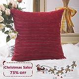 Home Brilliant Super Soft Striped Corduroy Throw Pillow Sham...