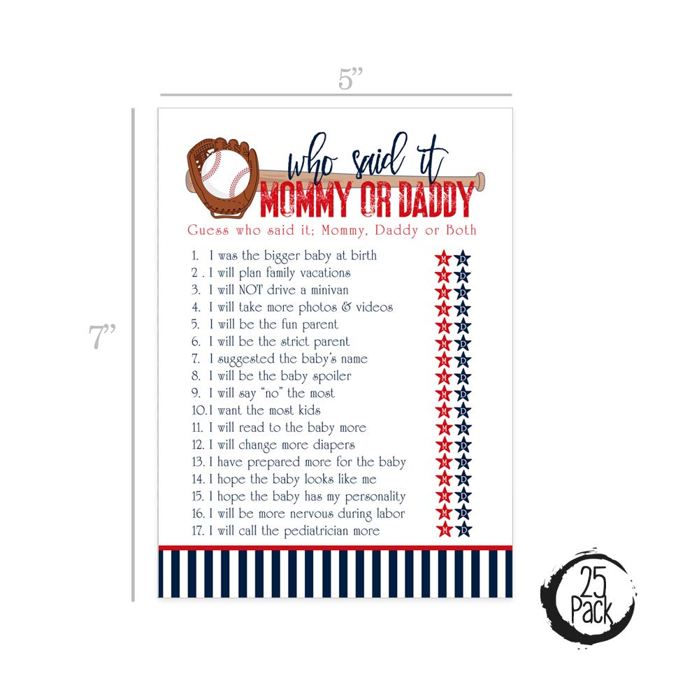 Baseball Baby Shower Games Guess Who Mommy or Daddy Said It Fun Guessing Activity for Guests Sports Theme Set of 25 Cards