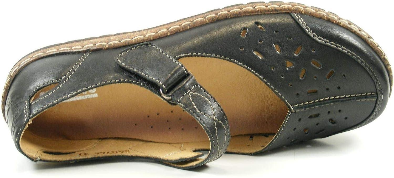 Manitu Damen Schuhe Mary Jane Spangenschuhe Nubukleder geprägt olive 15757