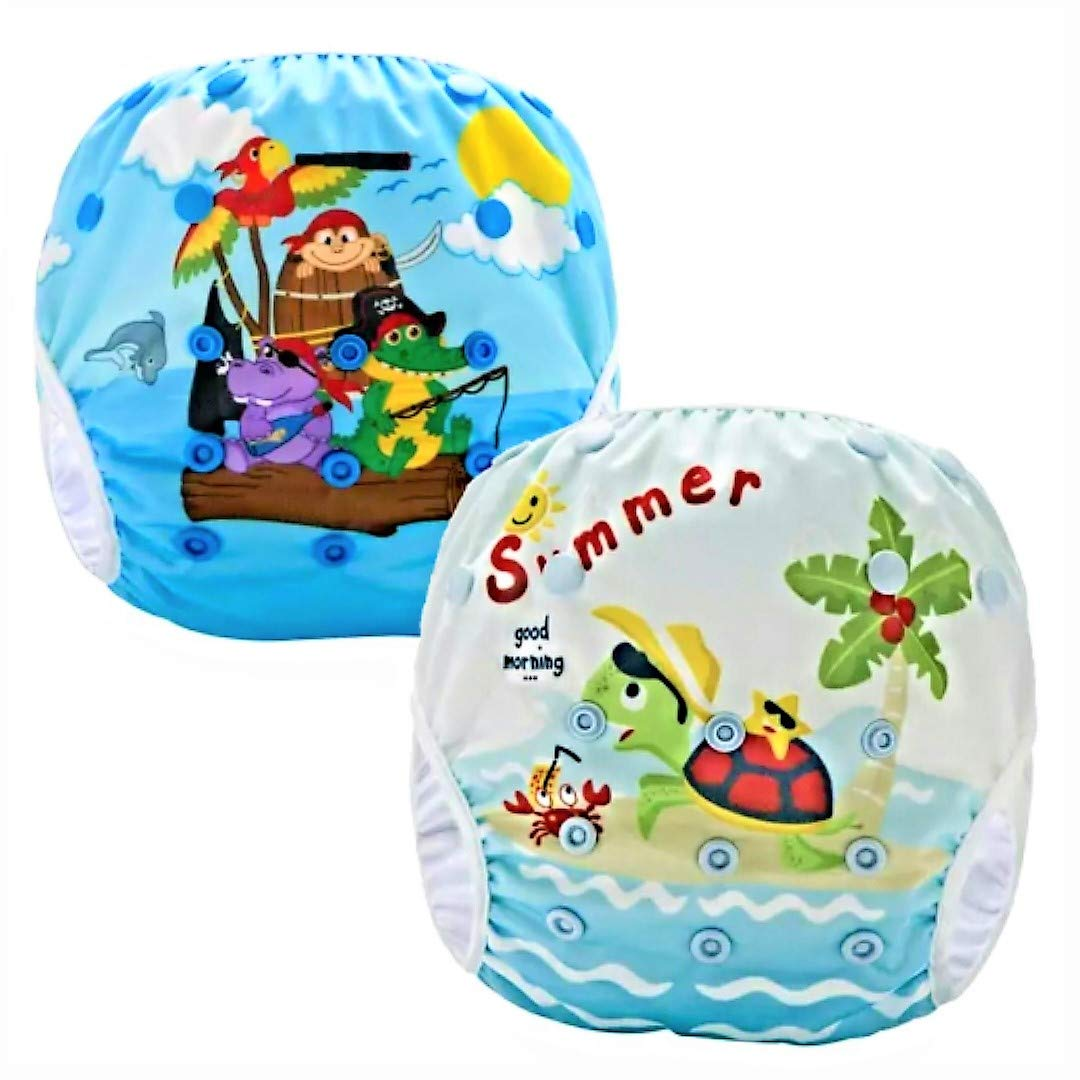 Pannolini Piscina Costume Contenitivo Neonato Bambino Riutilizzabili Pannolini da Nuoto Mare E Piscina Baby 0-36 Mesi Slip Cover Lavabile Spiaggia 3-15 kg Costumino Bimba Set da 2 Pezzi