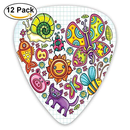 Flora And Fauna Themed Heart Animals Birds And Plants Bumblebee Ladybug Leafs Cat Guitar Picks 12/Pack - Flora Bumble Bee