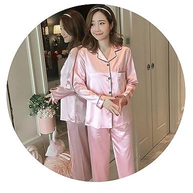 Amazon.com: Conjunto de pijama de seda de satén para mujer ...