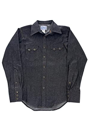 b3b320e611e Rockmount Black Denim Sawtooth Western Shirt SP640-DB-Black-14.5 at Amazon Men s  Clothing store