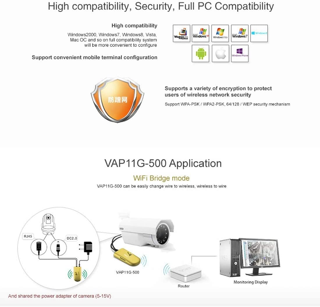 500m Support 802.11b//g//n Obstacle Cables /& Accessories VAP11G-500 Mini WiFi 300Mbps Bridge