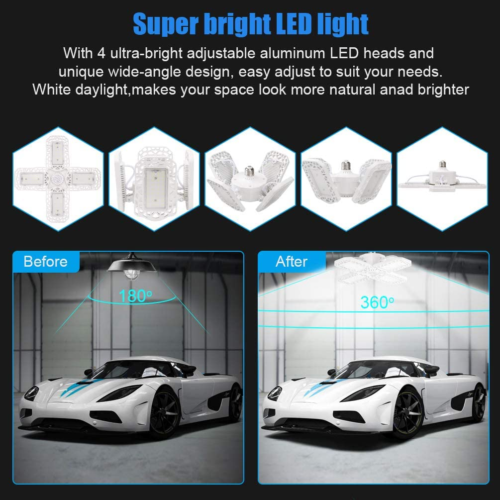 Ralbay 2-Pack LED Garage Lights 60W E26//E27 6000LM Deformable Ceiling Lighting LED Light Bulbs for Workshop Warehouse Lights with Adjustable Panels 6000K