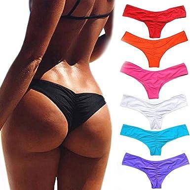 6f2a02c8615 CROSS1946 Sexy Women's Bikini Thong Bottom Brazilian V Cheeky Ruched Semi  Swimsuit S Black
