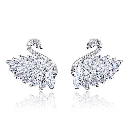 MEEOI exageración de la moda Ear Stud Earrings Ear Hoop 925 de plata esterlina para mujer, aguja de plata Cisne negro con zircón Pendientes de cisne blanco: ...