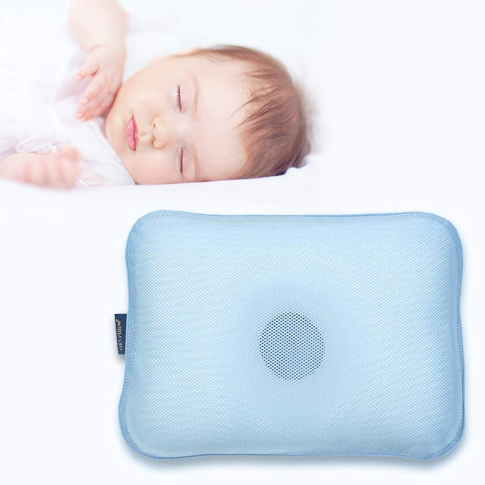 Gio Pillow 3D Air Mesh Toddler Pillow, Premium Head Shaping Pillow, Flat Head Syndrome Prevention, Made in Korea [Ice Blue/Toddlers 6-24 Months] by Gio pillow