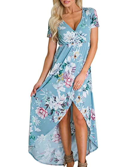 Image Unavailable. Image not available for. Color  MIROL Women s Summer Short  Sleeve V Neck Floral Printed High Waist Irregular Cross Hem Sexy Beach 49e1926c0e90