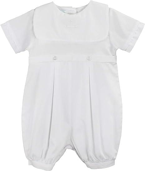 Petit Ami Infant Boys White Smocked Christening Baptism Romper Outfit-3M